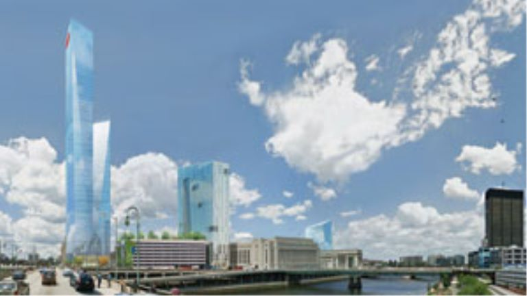 rendering of three new buildings and one current building