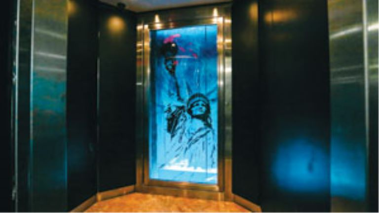 statue of liberty painted on an elevator door