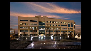 exterior view of medical office building at night