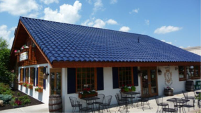 ice cream shop with solar tiles on the roof