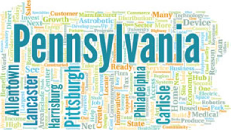 a word cloud with words about pennsylvania in it