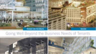 office building of the future brochure cover with four office concepts