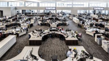 the trading floor in an office building