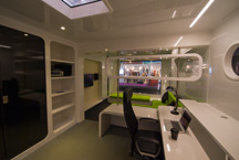 the interior of the H2O floating office