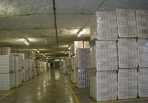 food warehouse storage inside a cave