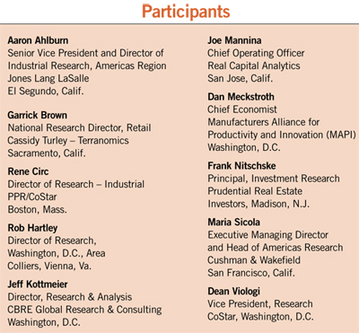 table listing the participants in the 2013 NAIOP Research Directors meeting