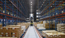 racks and boxes in a distribution center