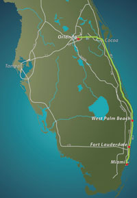 map of Florida with rail route marked
