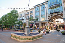 outdoor shopping area with a fountain