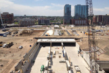 construction of the bus terminal of Denver Union Station