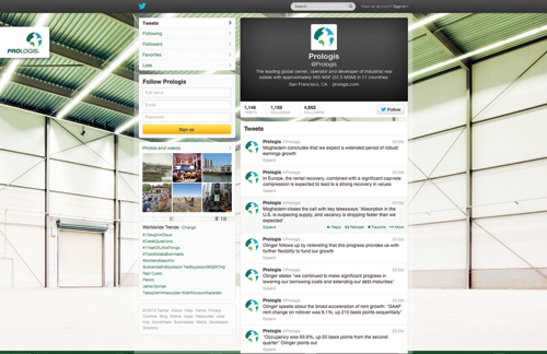 snapshot of Prologis' twitter page
