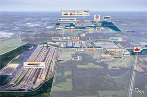 aerial view of industrial park with labels