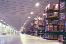 inside the warehouse of Johnson Diversey