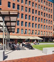 outdoor courtyard at Atlantic Wharf