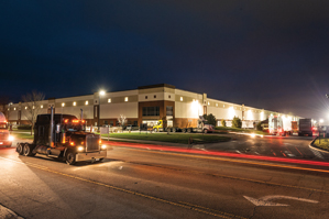 exterior view of industrial building and a tractor trailer