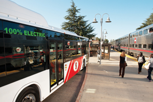 electric bus and pleople